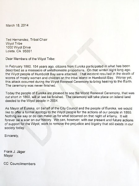 This is the letter former Mayor Frank Jager wrote to the Wiyot Tribe.