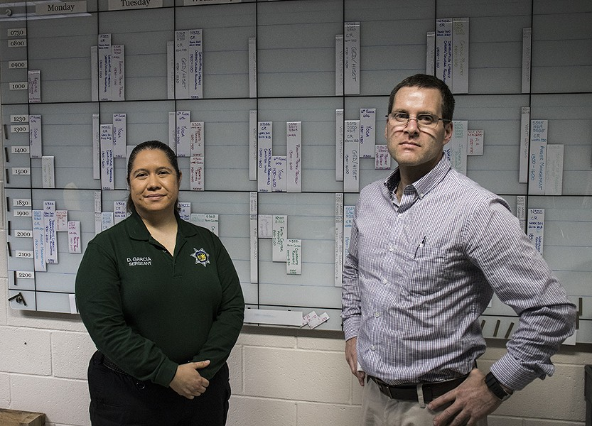 With the Humboldt County jail's population changing under California's prison realignment laws, Administrative Sgt. Delia Garcia (left) and former Programs Coordinator Stefan Logie have been focusing more attention and resources on rehabilitative services. - PHOTO BY T. WILLIAM WALLIN