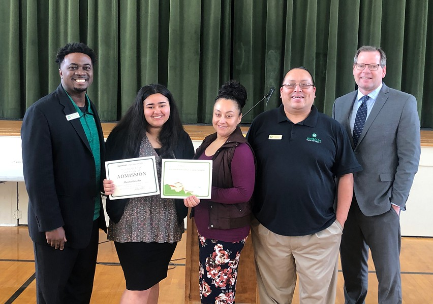 St. Bernard's High School senior Marina Amador (second from the left) accepts her Humboldt First Scholarship. - SUBMITTED