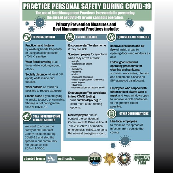 Updated information on how to practice personal safety in preventing the spread of COVID for cannabis operations. - HUMBOLDT COUNTY JOINT INFORMATION CENTER