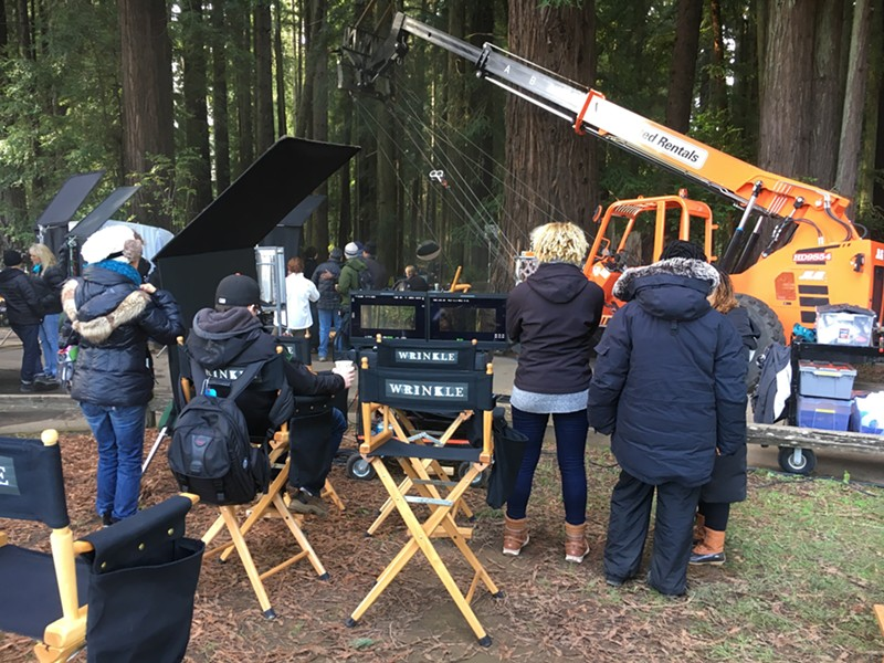 The crew of Ava DuVernay's 'A Wrinkle in Time' in Sequoia Park in 2016. - FILE