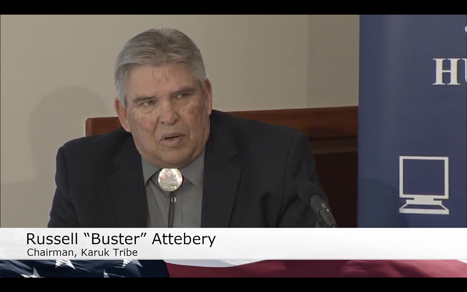 """Karuk Tribal Chair Russell """"Buster"""" Attebery describes the impact the decline in Klamath River water quality has had on salmon and his people. - SCREENSHOT FROM KEET'S LIVE BROADCAST"""