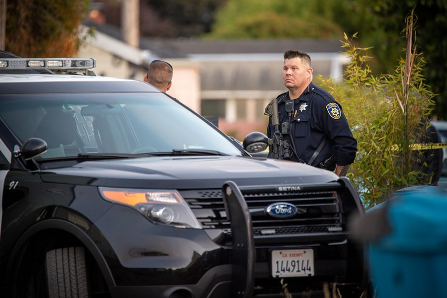 Officer Patrick Bishop at the scene where he and three other officers fatally shot John Karl Sieger after the reportedly suicidal military veteran pointed a firearm at them. - MARK MCKENNA