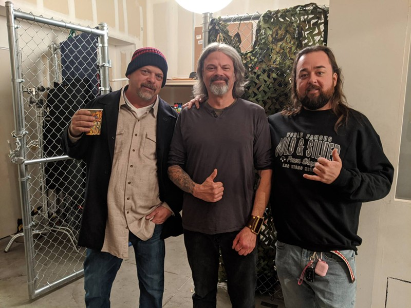 """Navarro behind the scenes with Rick Harrison and Austin """"Chumlee"""" Russell. - COURTESY OF WOLF NAVARRO"""