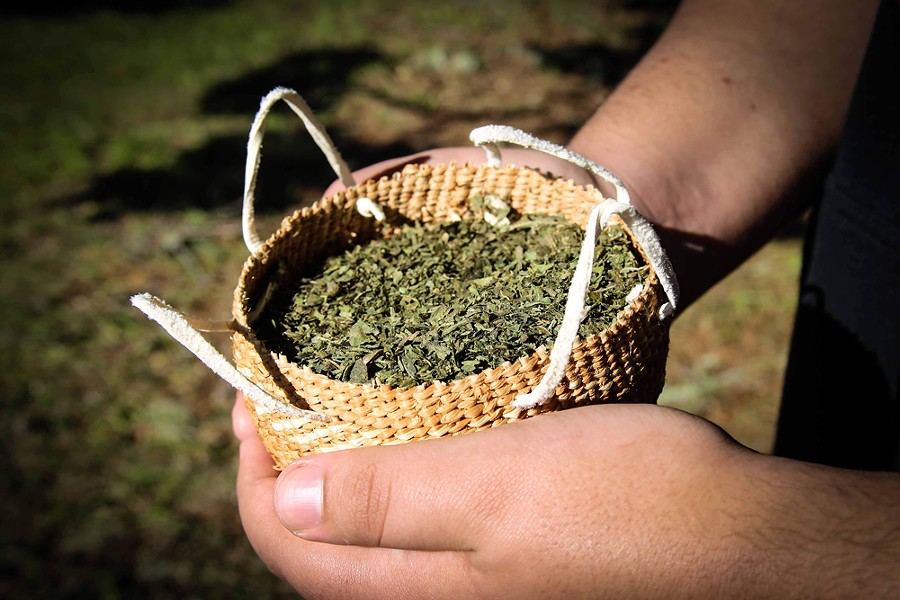 A basket of tobacco during a ceremony at a traditional Tolowa coastal village. - WINGSPAN MEDIA