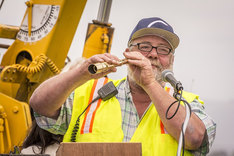 Leroy Zerlang was presented with a brass telescope as a thank-you gift  for his role in the restoration of the Golden Rule prior to its launching on Saturday, June 20 at the Zerlang & Zerlang  boat yard on the Samoa peninsula. - MARK LARSON