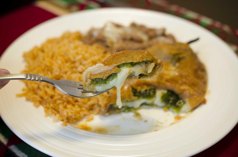 A forkful of Esmeralda's chile relleno. - DREW HYLAND