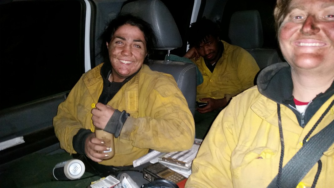 0530 hrs, finishing 30-hr shift on fireline.  Monique Torres, William Page, Cedar Long. - CEDAR LONG, C-1, CCC