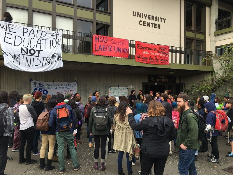 Students rallied outside the University Quad. - SUBMITTED