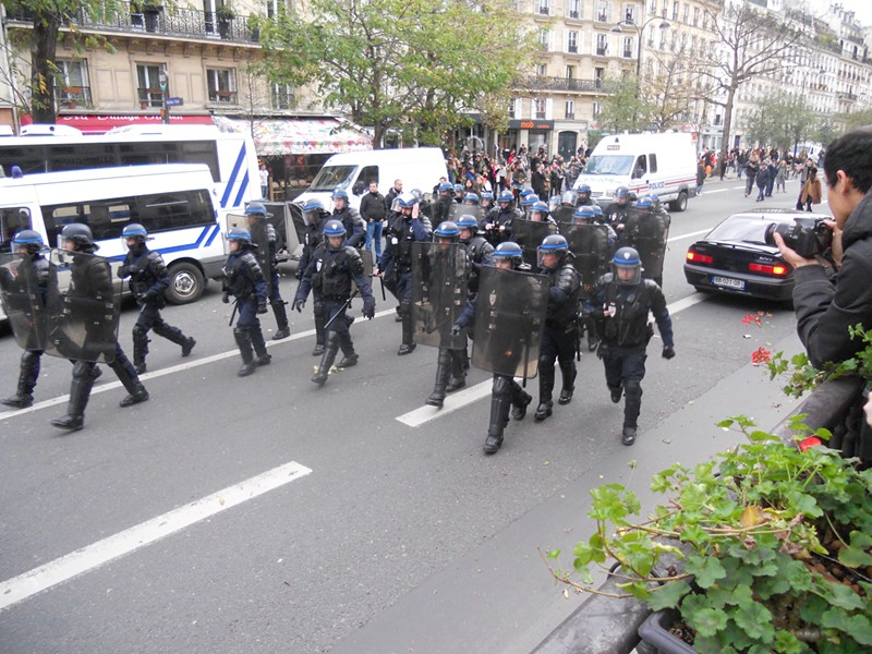 Police move to rein in a climate protest on the Plaza de Republique in Paris on Nov. 30. - DAVID SIMPSON