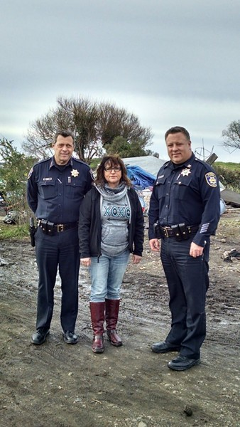 Connie Beck, with Eureka Police Chief Andrew Mills (left) and Capt. Steve Watson during a recent tour of the homeless encampments in the PalCo Marsh. - TWITTER
