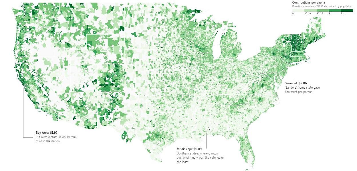 Bernie Sanders donation hotspots. - LA TIMES