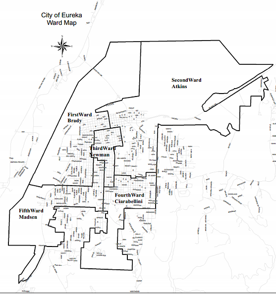 An old ward map for Eureka. The wards remain the same, but some of the council members have changed since this was put together (Natalie Arroyo now represents the 5th, and Kim Bergel represents the 3rd). - FILE