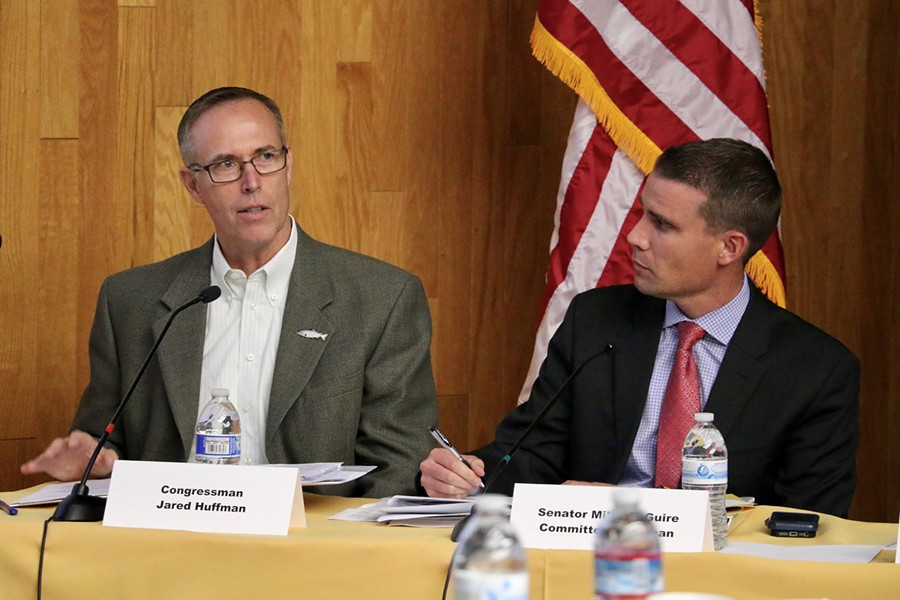 North Coast Congressman Jared Huffman and state Sen. Mike McGuire during today's hearing. - JENNIFER SAVAGE