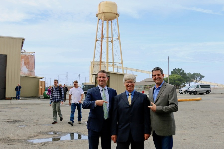 North Coast state Sen. Mike McGuire (left) and Assemblyman Jim Wood (right) with Harbor Commissioner Pat Higgins. - JENNIFER SAVAGE