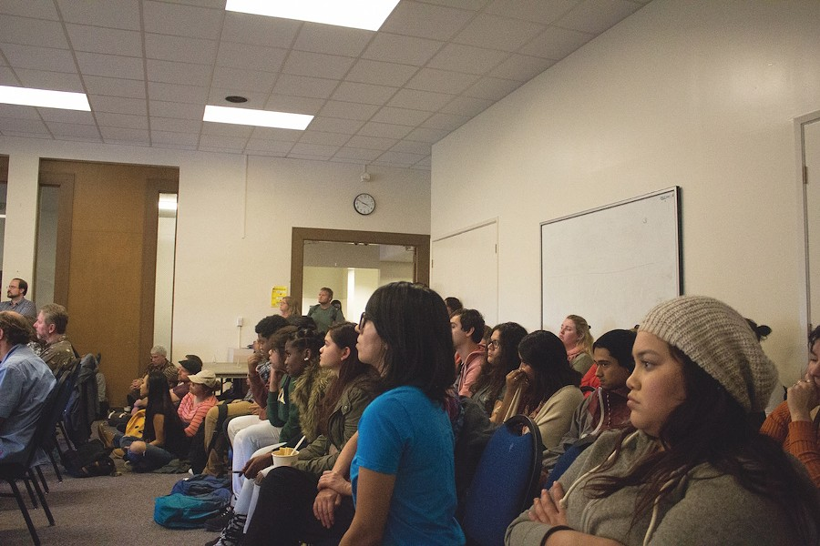 Students and staff filled the Goodwin Forum for the Humboldt State University Senate on Thursday. - JAVIER ROJAS