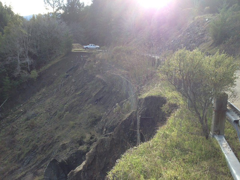 A more recent photo of the slip on Wilder Ridge, where the road has been reduced to one lane. - SUBMITTED