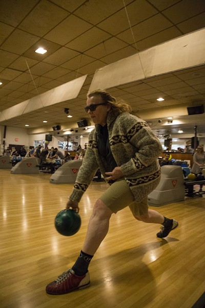Karen Smith bowls her second shot in the round as the title character from The Big Lebowski, 'The Dude,' on Friday, Feb. 10. - SAM ARMANINO