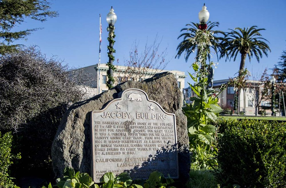 """The plaque on the Arcata Plaza referencing """"Indian troubles."""" - FILE"""