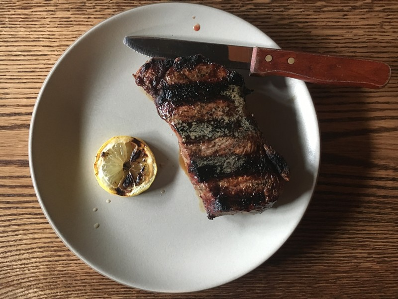 The 10-ounce New York strip steak. - JENNIFER FUMIKO CAHILL