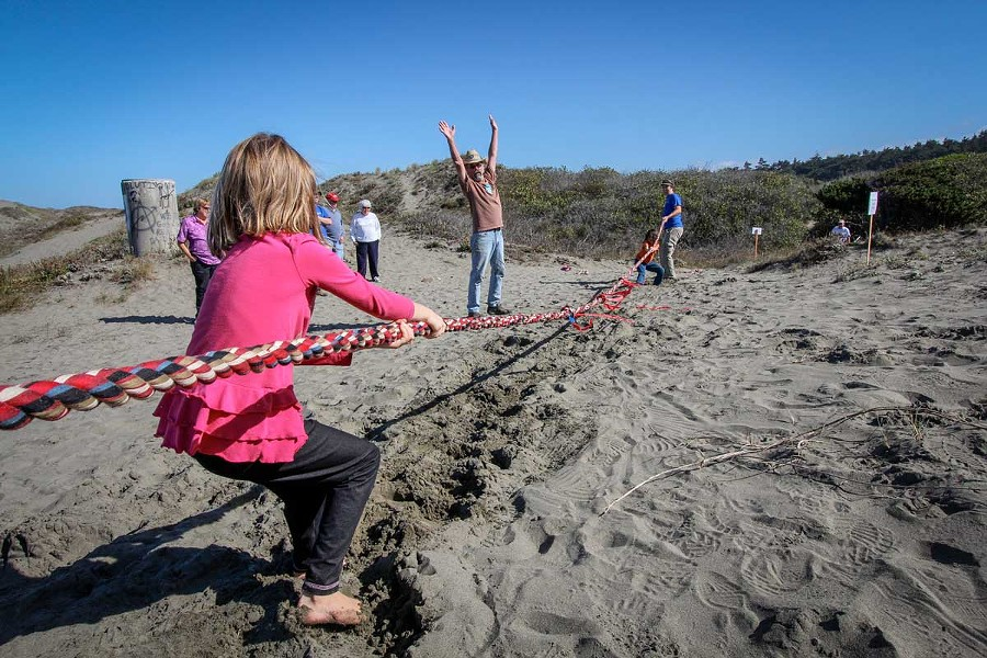 Tug-o-war at the Ma-le'l Dune. - COURTESY OF FRIENDS OF THE DUNES
