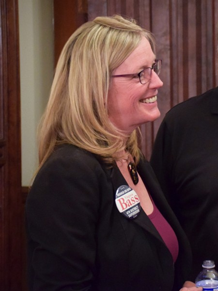 Fourth District Incumbent Virginia Bass was all smiles at her election night gathering. - THADEUS GREENSON