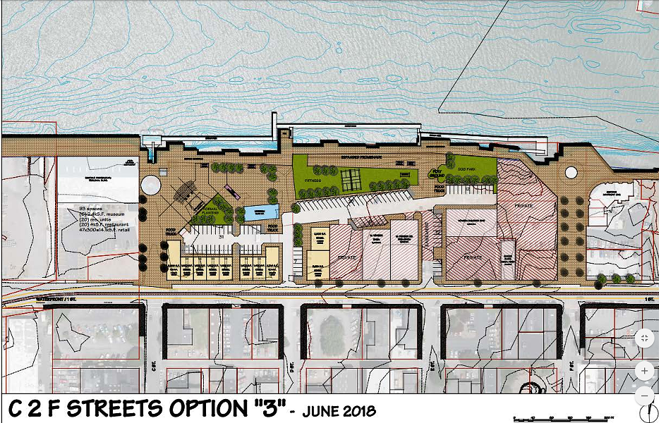 A mock up of the waterfront development option selected by the council. - CITY STAFF
