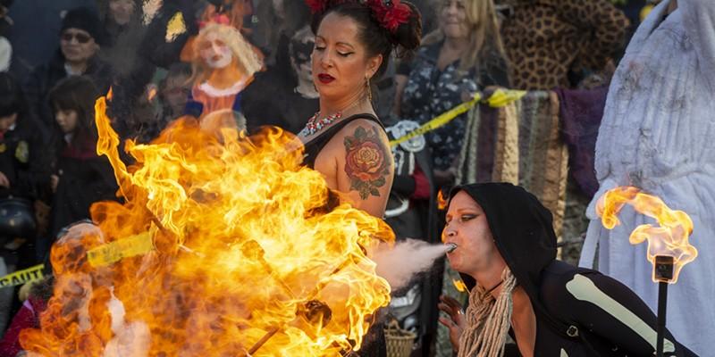 The Bella Vita Fire Dance Company burns it up on the Arcata Plaza.