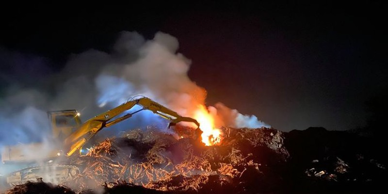A slash fire in Arcata last night. It is continuing to burn.
