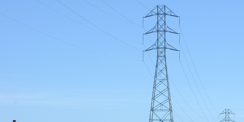 Transmission lines like these carry power into Humboldt County along state routes 36 and 299.