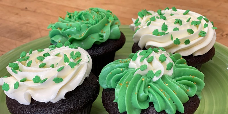 Chocolate cupcakes with plain buttercream or mint buttercream frosting