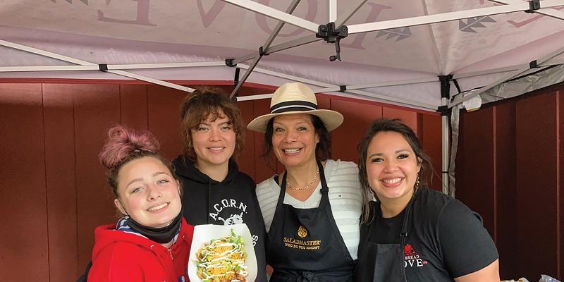 From left: Emma Sundberg, Aliesha Brown, Lisa Sundberg and Kayla Maulson at the Frybread Love stand.