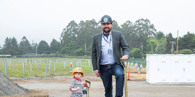 RCEA's Executive Director Matthew Marshall and his daughter Alex celebrate groundbreaking on the RCAM project