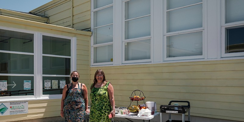 The Jefferson Community Center is Turning Up the Heat' Heidi Benzonelli and Chef Chelsea Sterling prepare to serve free lunch to kids (under 18), made from fresh local produce, produce from the garden, and from local businesses. Katie Rodriguez