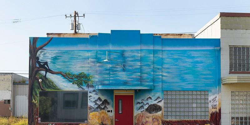 "Mural Makeover ""Jovial View Lucid Dew"" by Julia Morgan. Photo by Alexander Woodard"