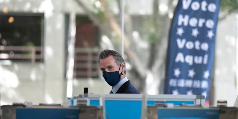 Gov. Gavin Newsom prepares to vote in the recall election at the Secretary of State building in Sacramento on Sept. 10, 2021.