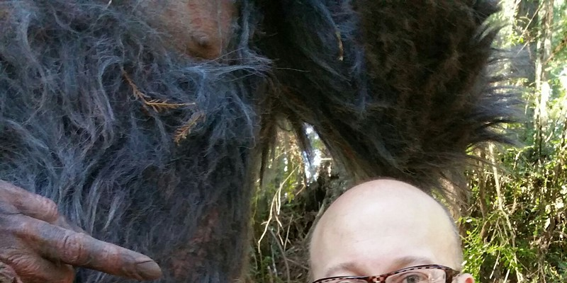 Co-producer Edward Olson hanging out in the Humboldt woods with Bigfoot.