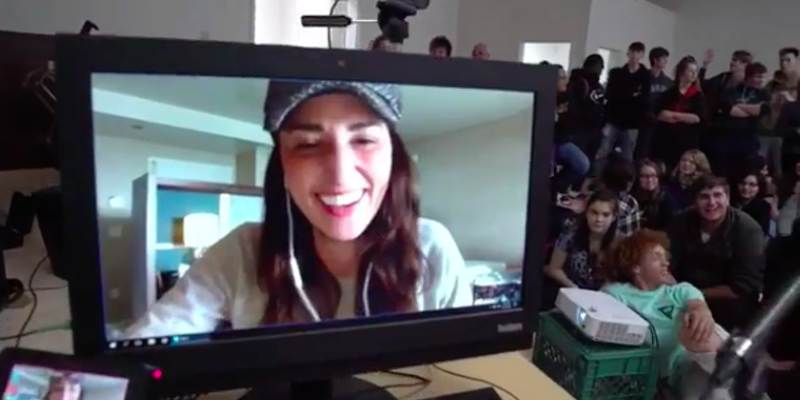 Sara Bareilles chats with Eureka High School students on Skype.