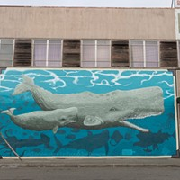 """Mural Makeover """"Life Size Whales"""" by Kati Texas. Photo by Alexander Woodard"""