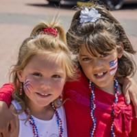 Fourth of July 2016 Dressed in patriotic colors and adorned with face paint, Khloey Hardy (left) and Daisie Harris, both of Eureka, paused for a photo during the Fourth of July festival. Mark Larson