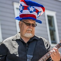 Fourth of July 2016 Frank Bacik, King Salmon, played lead guitar for Doug Fir & the 2x4s on the sound stage at Second and C streets. Mark Larson
