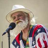 Fourth of July 2016 Oscar Leatherman, of Eureka, and lead singer and sole member of The Banned, shared his music from a sound stage near Humboldt Bay Tourism Center. Mark Larson