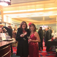 Oscars 2017 Donna Wright in Venetian vintage mink and Donna Landry in head-to-toe red. Jennifer Fumiko Cahill