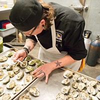 Equinox Dinner 2017 Lizette Acuna, Head Chef at Ramone's, prepares her duo of oysters that were the opening course for the meal. Mark McKenna