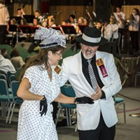 Redwood Coast Music Festival 2017 Donna Landry and Bryce Rehling, of Eureka, showed off their classy attire and dance moves at the Thursday evening's kick-off dance at the Adorni Center. Photo by Mark Larson