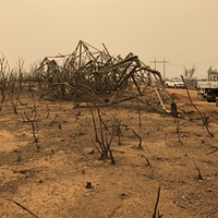 "Aftermath of the Carr Fire ""fire whirl."""