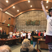 Protestors disrupt Wednesday's Arcata City Council meeting.