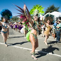 Samba dancers shook a tail feather near the end of the parade.