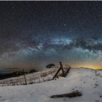 The Milky Way above a snowy landscape outside of Kneeland, California, early on the morning of Feb. 21, 2018.