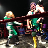 The Stoner Brothers, a popular duo at Hoodslam in Oakland, wrestling Bat Manuel and El Chupacabra. By Ossanha - Own work, CC BY-SA 4.0, Link